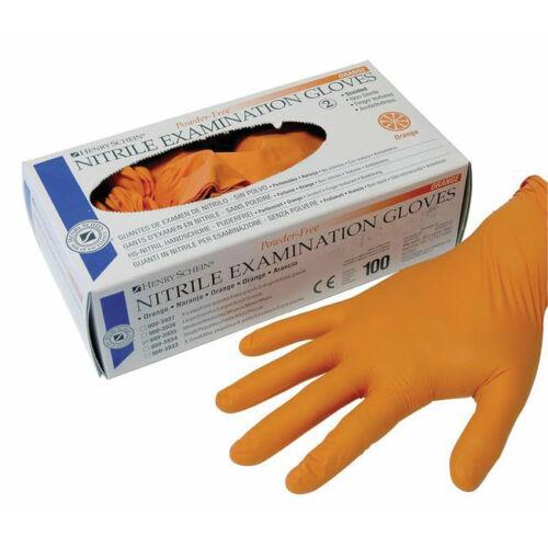 Nitril kesztyű, púdermentes, narancssárga, XS